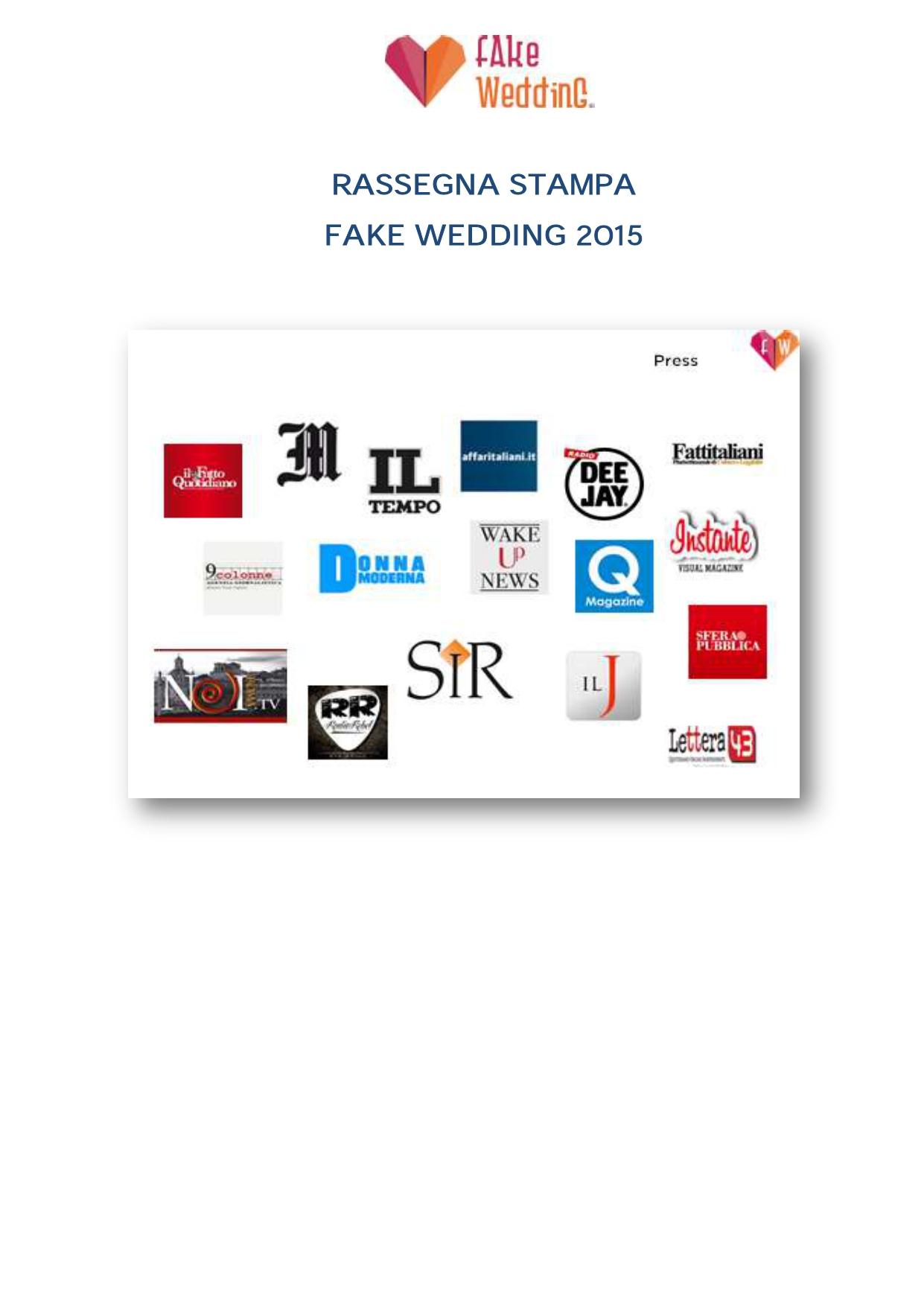 Fake Wedding rassegna stampa copertina